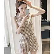 レディース お出かけ 夏 Tシャツ(21) パンツ スーツ,シンプル ラウンドネック 格子柄 ノースリーブ