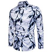 メンズ お出かけ カジュアル/普段着 オールシーズン シャツ,シンプル 活発的 レギュラーカラー 幾何学模様 プリント コットン ポリエステル 長袖 ミディアム
