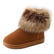 レディース 靴 繊維 秋 冬 コンフォートシューズ ブーツ フラットヒール ブーティー/アンクルブーツ 用途 カジュアル ブラック グレー Brown
