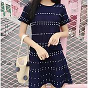 Mujer Simple Noche Verano T-Shirt Falda Trajes,Escote Redondo Un Color Manga Corta