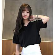 Mujer Simple Noche Camiseta,Escote en Pico Un Color Media Manga Algodón