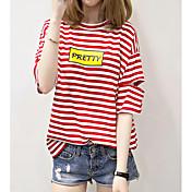 Mujer Simple Noche Camiseta,Cuello Barco A Rayas Manga 3/4 Algodón