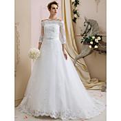 Corte en A Larga Encaje Tul Vestido de novia con Cuentas Apliques Cinta / Lazo por LAN TING BRIDE®