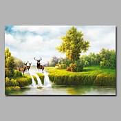 pintado a mano paisaje horizontal, naturaleza artística inspirada cumpleaños moderno uno panel pintura al óleo