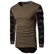 Hombre Simple Activo Deportes Casual/Diario Camiseta,Escote Redondo camuflaje Manga Larga Algodón