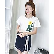 Mujer Simple Casual/Diario Verano T-Shirt Falda Trajes,Escote Redondo Bordado Manga Corta
