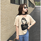 レディース カジュアル/普段着 夏 Tシャツ,シンプル ラウンドネック ソリッド プリント コットン 半袖