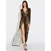 Mujer Corte Swing Vestido Fiesta Sexy,Leopardo Escote en V Profunda Maxi Manga Larga Poliéster Nailon Primavera Otoño Tiro Medio