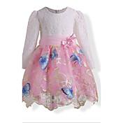 女の子の 誕生日 カジュアル/普段着 ホリデー ゼブラプリント フラワー 刺繍 コットン ドレス 秋 冬 長袖