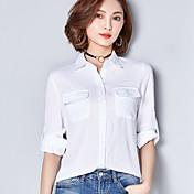 レディース カジュアル/普段着 春 シャツ,キュート シャツカラー ソリッド コットン 長袖