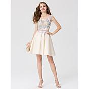 Corte en A Princesa Corta / Mini Encaje Satén Fiesta de Cóctel Vestido con Apliques por TS Couture®