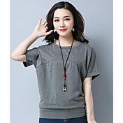 Mujer Simple Casual/Diario Camiseta,Escote Redondo Un Color Manga Corta Algodón Otro
