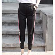 Mujer Casual Tiro Alto Microelástico Ajustado Pantalones,A Rayas Verano