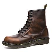 Hombre Zapatos Cuero real Otoño Invierno Botas de Combate Botas Remache Para Casual Negro Gris Marrón Rojo