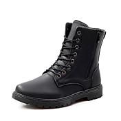 Hombre Botas Confort Botas de Combate Otoño Invierno Cuero Casual Cremallera Con Cordón Tacón Plano Negro Marrón Plano