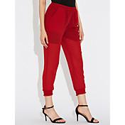 Mujer Dulce Tiro Alto Rígido Pantalones Harén Chinos Pantalones,Un Color Primavera