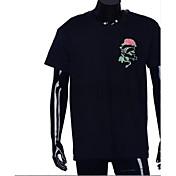 メンズ カジュアル/普段着 Tシャツ,シンプル クルーネック ソリッド フラワー その他 半袖