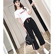 レディース カジュアル/普段着 夏 Tシャツ(21) パンツ スーツ,シンプル ラウンドネック メッセージ 半袖