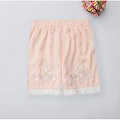 Mujer Sencillo Tiro Medio Microelástico Shorts Pantalones,Perneras anchas Un Color Bordado