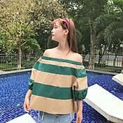 Mujer Simple Casual/Diario Camisa,Escote Barco Bloques Manga 3/4 Algodón