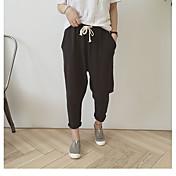 Mujer Casual Tiro Alto Microelástico Pantalones Harén Chinos Pantalones, Un Color Verano