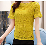 Mujer Simple Casual/Diario Camiseta,Escote Redondo Un Color Manga Corta Algodón Lino Poliéster