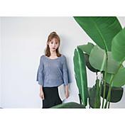 Mujer Corto Pullover Casual/Diario Un Color Escote en Pico Manga 3/4 Algodón Otoño Medio Microelástico
