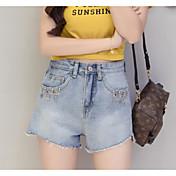 Mujer Casual Tiro Medio Microelástico Delgado Vaqueros Shorts Pantalones,Un Color Verano