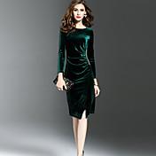 Mujer Vaina Vestido Noche Sensual Sofisticado,Color sólido Escote Redondo Hasta la Rodilla Manga Larga Terciopelo Invierno Otoño Media