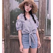 Mujer Bonito Casual/Diario Camisa,Escote en Pico A Rayas Media Manga Algodón