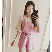 Mujer Simple Casual/Diario Verano Tank Top Pantalón Trajes,Escote Redondo Un Color Manga Corta Microelástico