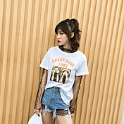 Mujer Chic de Calle Noche Verano Camiseta,Escote Redondo Estampado Letra Manga Corta Algodón Fino