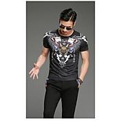 Hombre Simple Noche Camiseta,Escote Redondo Estampado Manga Corta Algodón