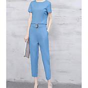 レディース お出かけ 夏 Tシャツ(21) パンツ スーツ,ストリートファッション ラウンドネック ソリッド バックレス 半袖 非弾性