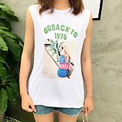 レディース お出かけ 夏 Tシャツ,ストリートファッション ラウンドネック プリント レタード コットン ノースリーブ 薄手