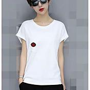 Mujer Simple Noche Camiseta,Escote Redondo Un Color Manga Corta Algodón Acrílico