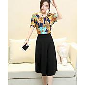 Mujer Simple Vintage Casual/Diario Verano Blusa Pantalón Trajes,Escote Redondo Floral Mangas cortas Algodón Microelástico
