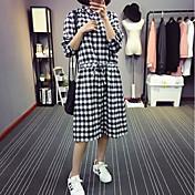 レディース カジュアル/普段着 シャツ,シンプル シャツカラー 水玉 コットン 七分袖