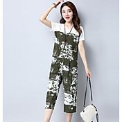 レディース カジュアル/普段着 夏 Tシャツ(21) パンツ スーツ,シンプル ラウンドネック カラーブロック 半袖