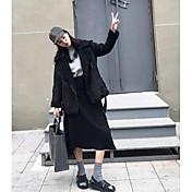 Mujer Chic de Calle Casual/Diario Invierno Chaqueta,Escote en Pico Estampado Manga Larga Otro Regular