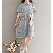 Mujer Corte Ancho Vestido Noche Simple,Estampado Cuello Camisero Sobre la rodilla Manga Corta Algodón Verano Tiro Medio Microelástico
