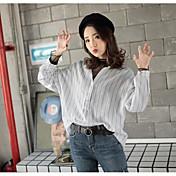 Mujer Simple Noche Camisa,Cuello Camisero A Rayas Manga Larga Algodón