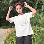 レディース カジュアル/普段着 Tシャツ,シンプル ラウンドネック 幾何学模様 コットン 半袖