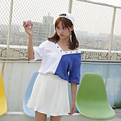 Mujer Simple Casual/Diario Camiseta,Escote en Pico Bloques Media Manga Algodón