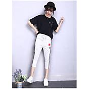 Mujer Sencillo Tiro Alto Microelástico Chinos Pantalones,Corte Recto Pantalones Harén Un Color