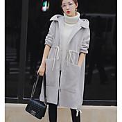 レディース カジュアル/普段着 冬 コート,シンプル フード付き ソリッド ロング ウール 長袖