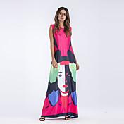 Mujer Corte Ancho Vestido - Estampado Tiro Alto Maxi