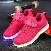 Chica Zapatos Red Tejido Invierno Otoño Confort Zapatos con luz Zapatillas de deporte Cinta Adhesiva LED para Casual Negro Azul Oscuro
