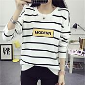 Mujer Regular Cardigan Casual/Diario Simple,A Rayas Escote Redondo Manga Larga Algodón Otoño Medio Microelástico