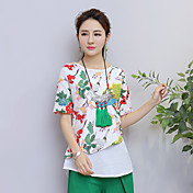 Mujer Tejido Oriental Casual/Diario Camiseta,Escote Redondo Floral Estampado Bloques Manga Corta Algodón